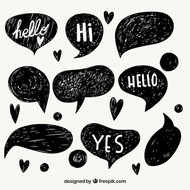 Set of speech bubble sketches with messages Free Vector