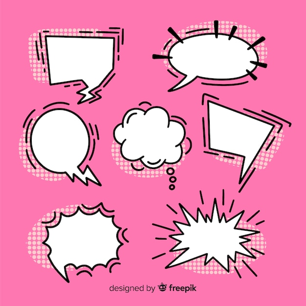 Set of speech bubbles comic collection on pink background Free Vector