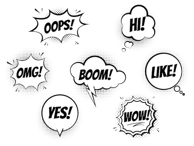Set of speech bubbles for comics on a white background, cool sound of explosion and shock, imitation of halftone imprint texture Premium Vector