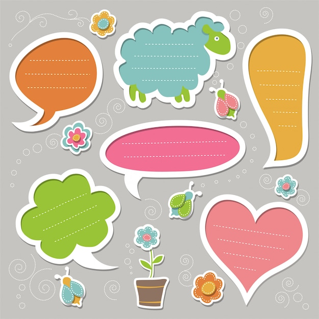 Set of speech bubbles, decorated with bugs and flowers. cute frames. Premium Vector