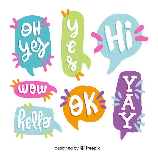 Set of speech bubbles with short messages Free Vector