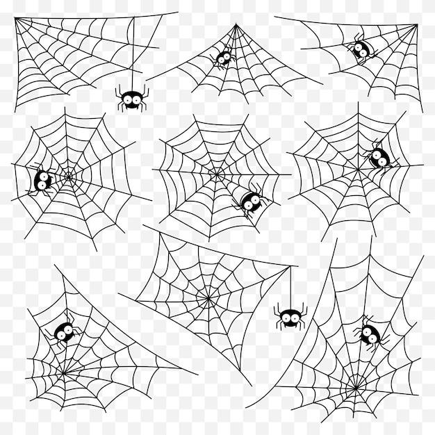 Set of spider web vector template Premium Vector