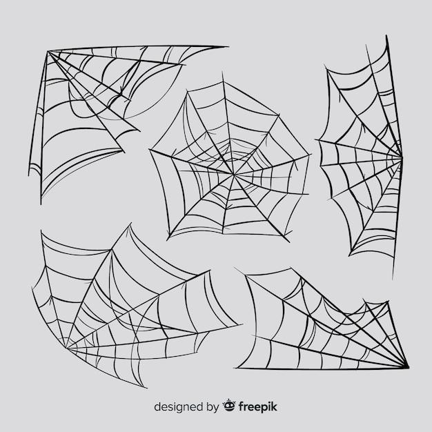 Set of spider webs Free Vector