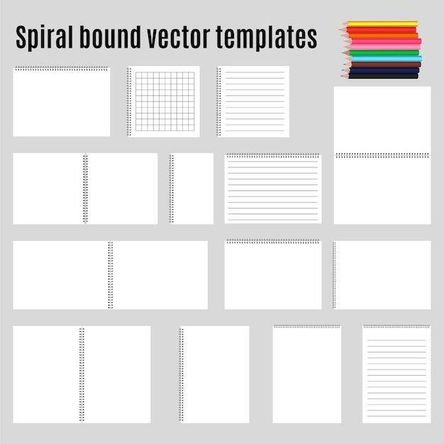 Set of spiral bound horizontal notepads and pencil. collection. Free Vector
