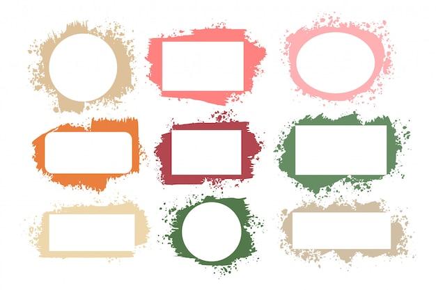 Set of splatter grunge frames in many colors Free Vector