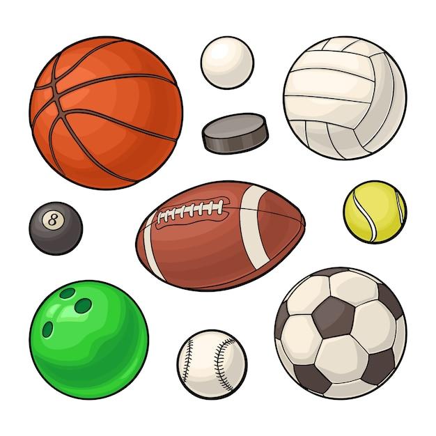 스포츠 공 아이콘을 설정합니다. 벡터 컬러 일러스트입니다. 흰색에 고립 프리미엄 벡터