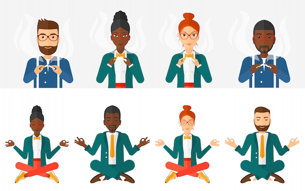 Set of sport and business characters. Premium Vector