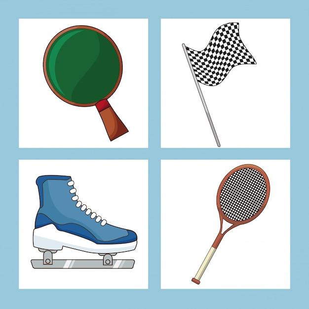 Set sport equipment icon Premium Vector