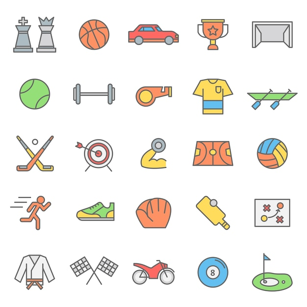 Set of sport games icon with modern concept Premium Vector