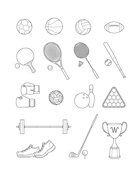 Set of sport icons. line vector illustrations. Premium Vector