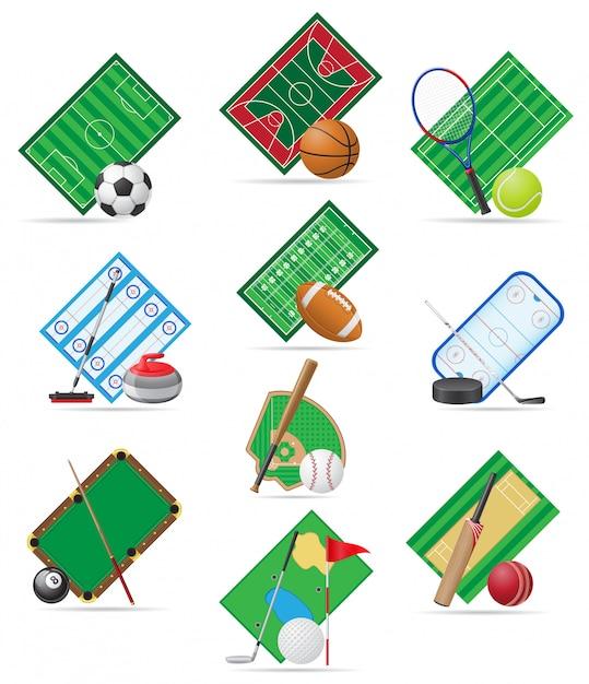Set of sport pitch vector illustration Premium Vector