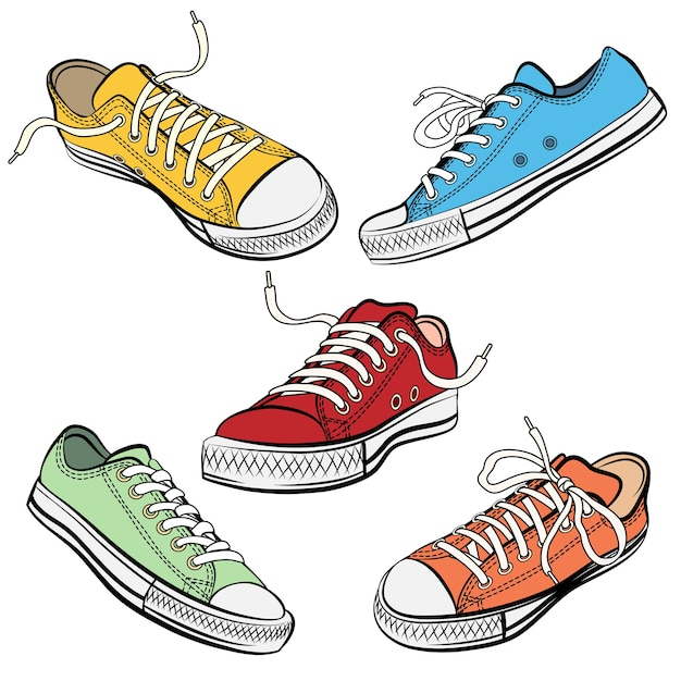 Set di scarpe sportive o scarpe da ginnastica in diversi punti di vista. Vettore gratuito
