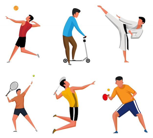 Set of sports activities characters silhouette illustrations Premium Vector