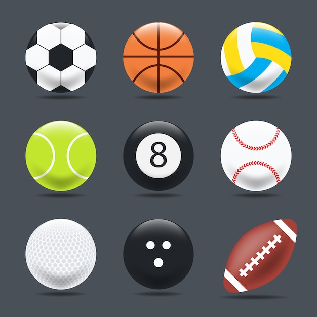Set of sports balls on a black background, realistic style. Premium Vector