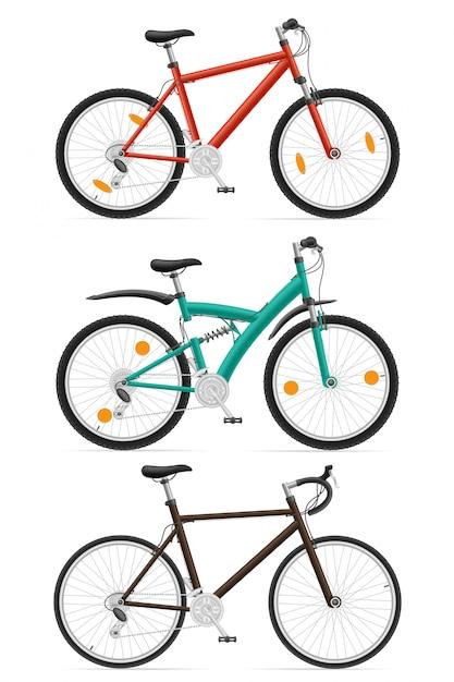 Set  sports bikes Premium Vector
