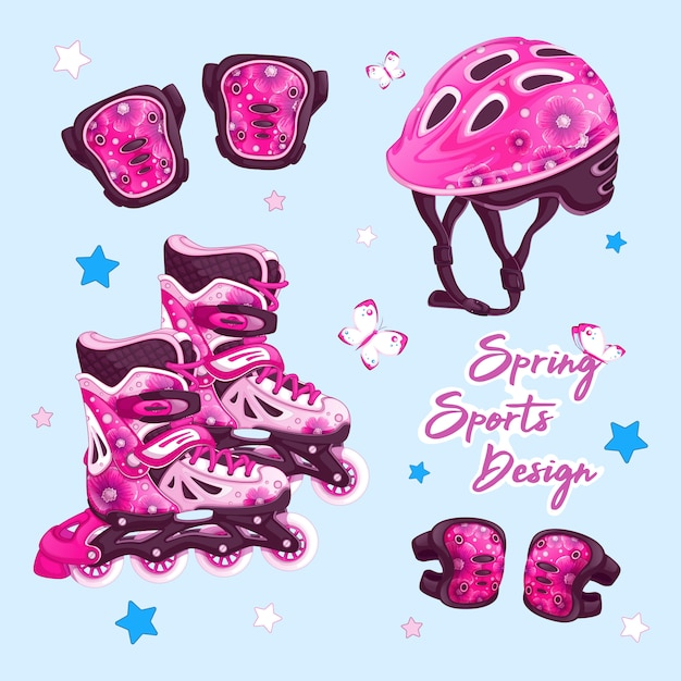 A set of sports items for rollerblading with a floral design. Premium Vector