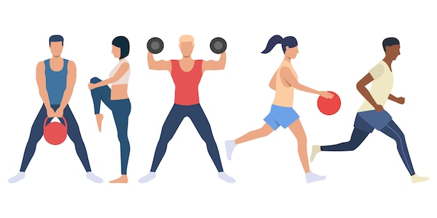 Set of sporty people preparing for competition Free Vector