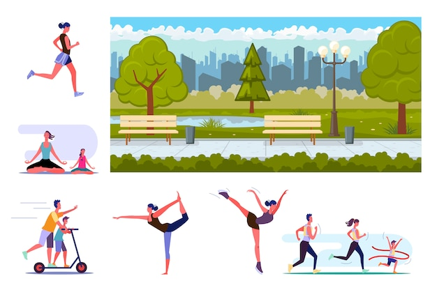 Set of sporty people training Free Vector