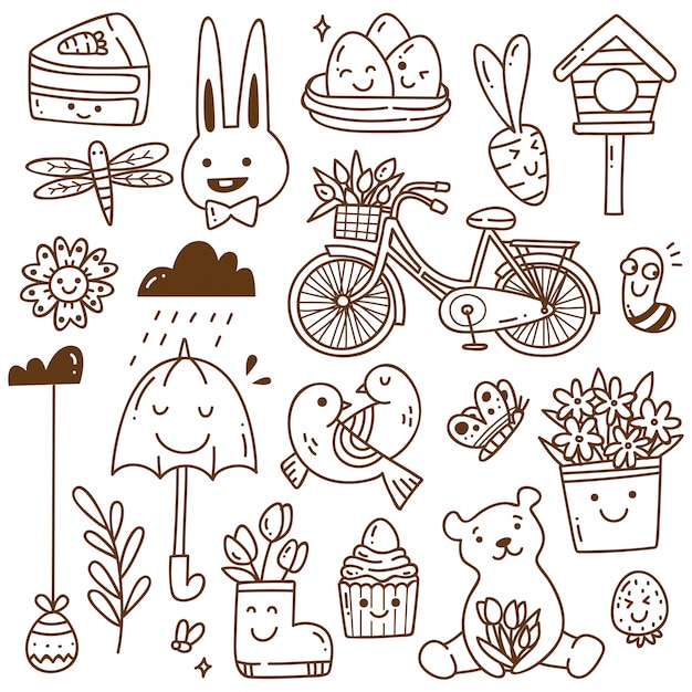 Set of spring related object in kawaii doodle style Premium Vector