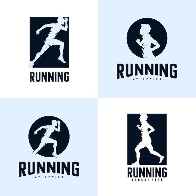 Set of sprint running athletics marathon logo design template Premium Vector