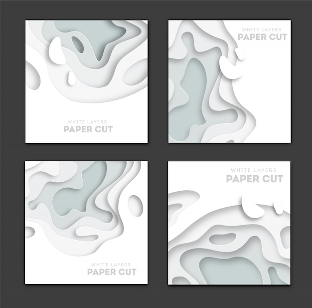 Set of square banner templates with paper cut shapes Premium Vector