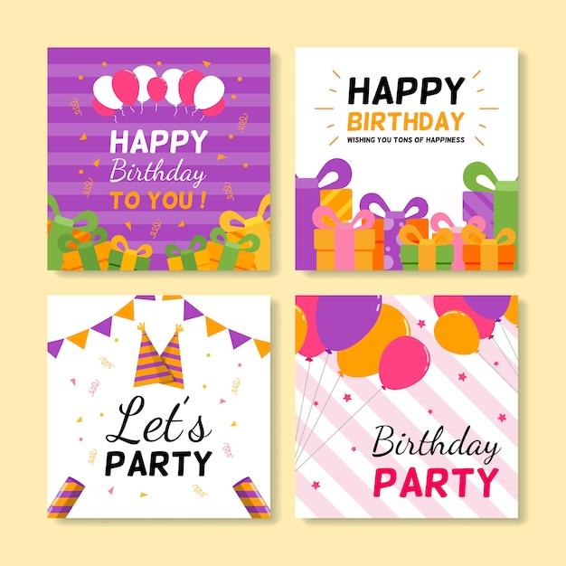 Set of square birthday greeting cards Premium Vector