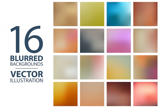 Set of square blurred backgrounds Premium Vector
