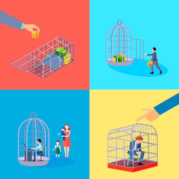Set of square cage office business money compositions with financial worker character languish in detention Free Vector