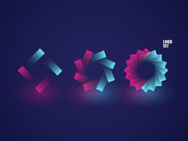 Set of square logotypes, circle logo illustration isometric neon dark ultraviolet Free Vector