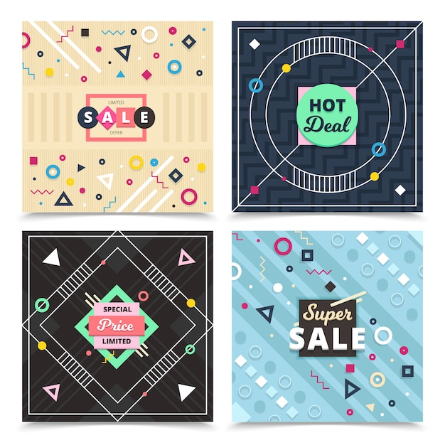 Set of square material design banners with compositions of flat ornamental decorative signs Free Vector