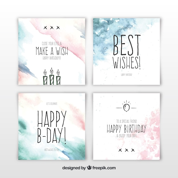 Set of square watercolour birthday cards Free Vector