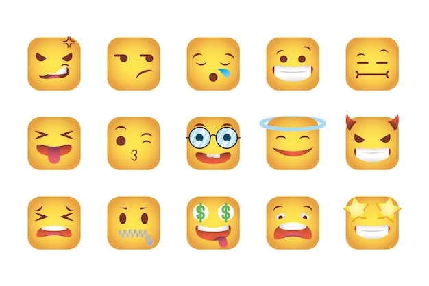 Set of squares emoticons faces characters Free Vector