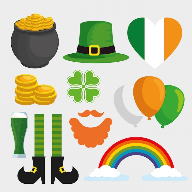 Set st patrick day decoration for celebration Free Vector