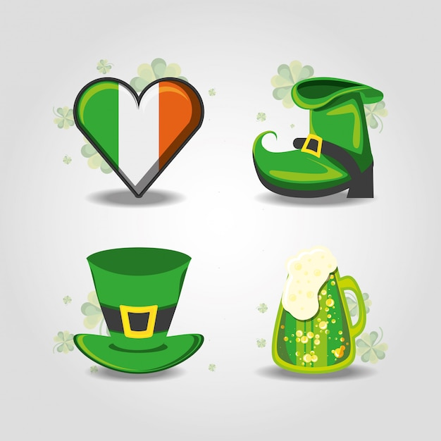 Set of st patrick day hat, boot, beer and heart Premium Vector