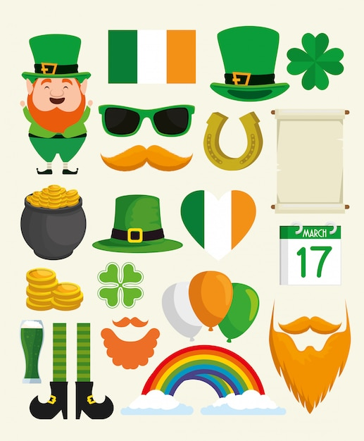 Set st patrick day traditional element Free Vector