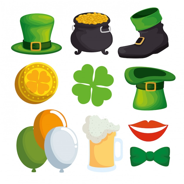 Set st patrick's day decoration for traditional celebration Free Vector