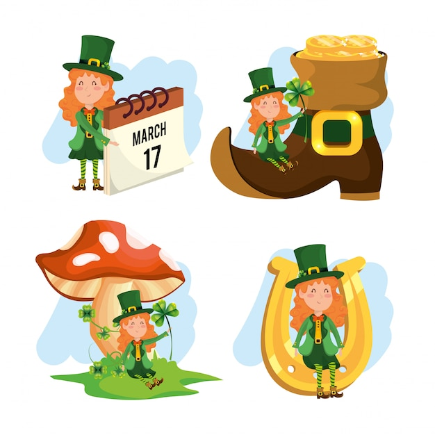 Set st patrick woman with boot and fungus Premium Vector