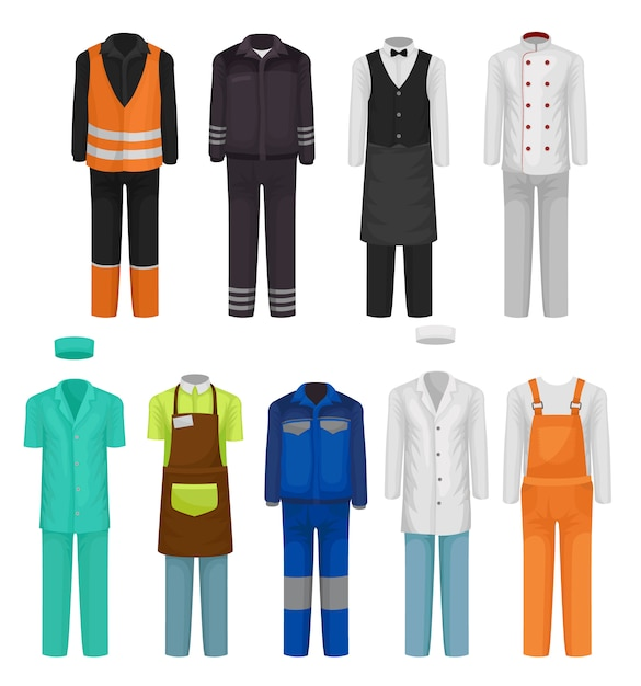 Set of staff clothing. uniform of roadman, guard, hospital and restaurant workers. workwear theme Premium Vector
