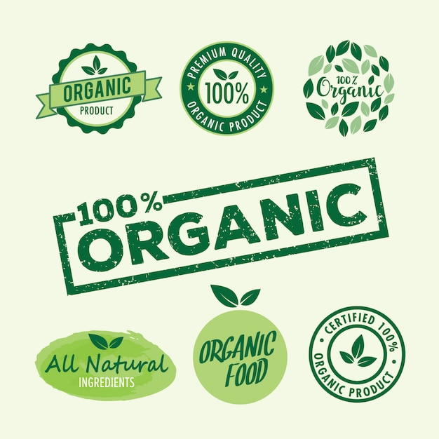 Set of stamp lettering for organic and natural product Premium Vector