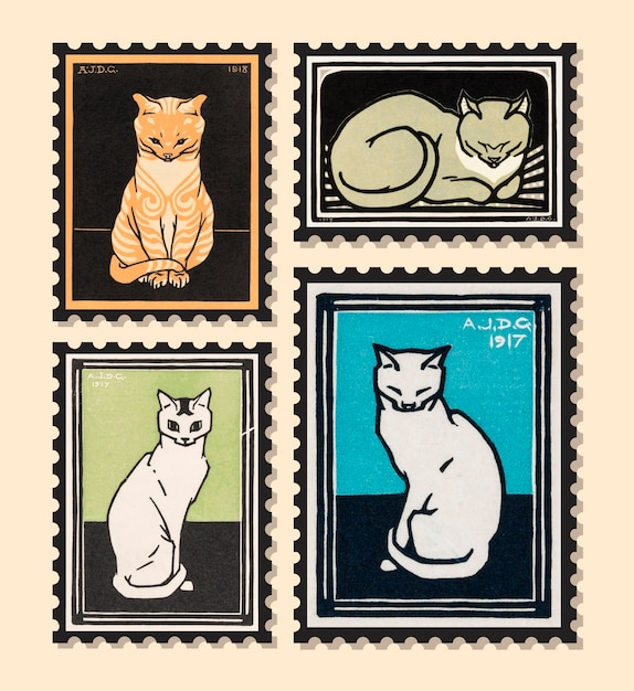 Set of stamps with cats Free Vector