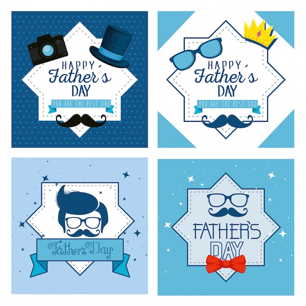 Set star label with fathers day celebration Premium Vector