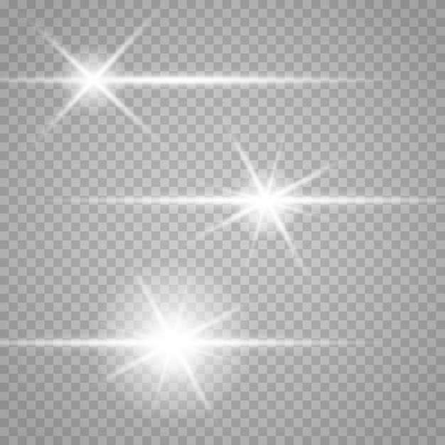 Set of stars on a transparent white and gray background on a chessboard. Premium Vector