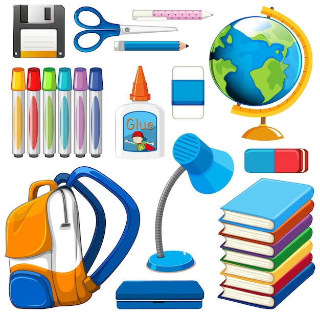 Set of stationary tools and school Free Vector