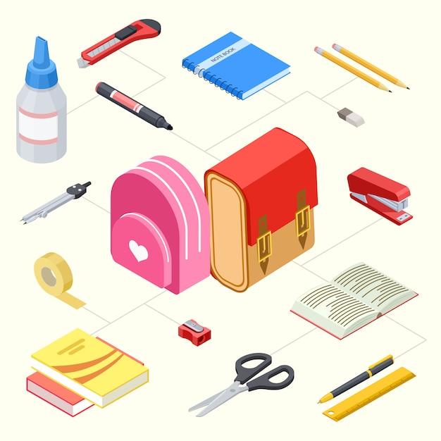 Set of stationeries and school backpacks Premium Vector