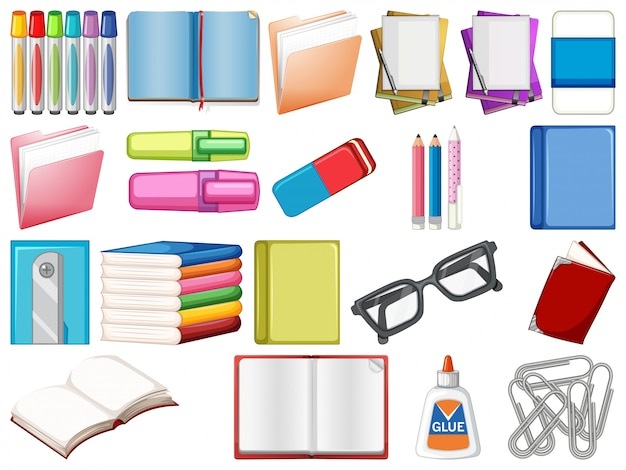 Set of stationery and books Free Vector