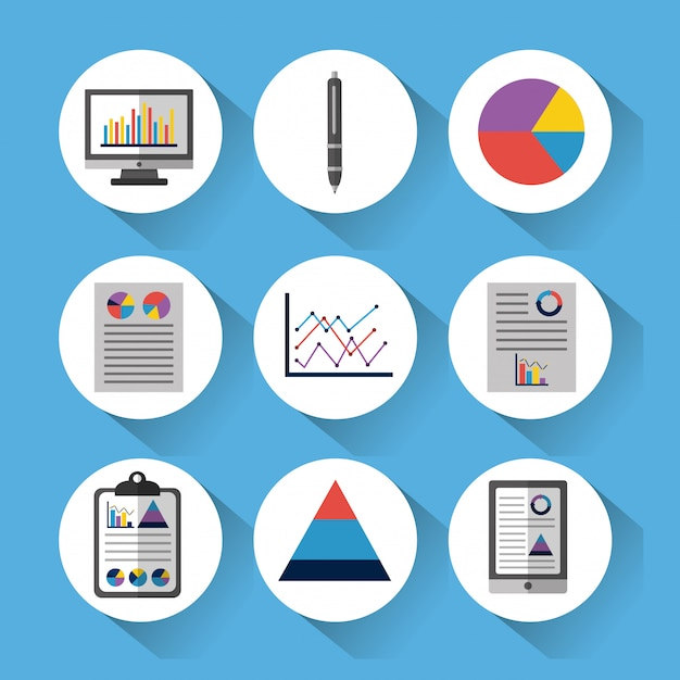 Set of statistic data tools finance diagram and graphic chart business Free Vector