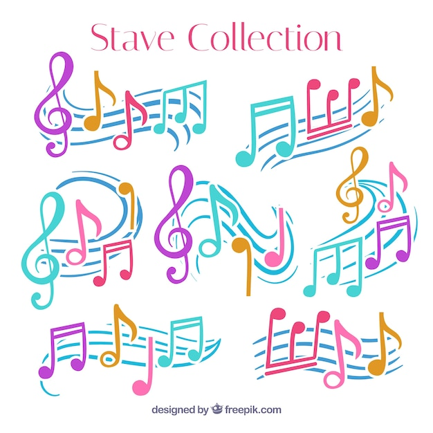Set of staves with colorful hand drawn musical notes Free Vector