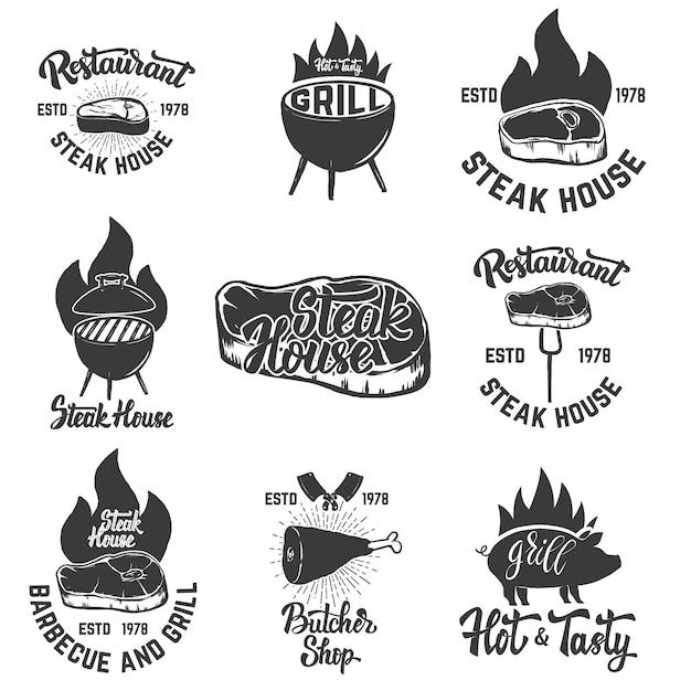 Set of steak house emblems. grilled meat.  element for logo, label, emblem, sign, badge.  illustration Premium Vector