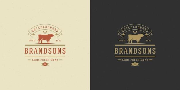 Set of steak house or restaurant logos Premium Vector