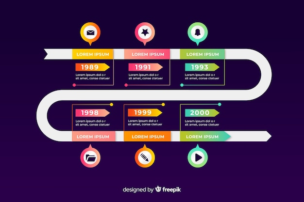 Set of steps business improvement timeline template Free Vector